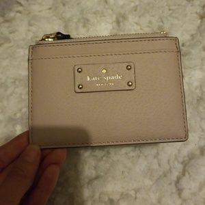 Kate Spade Tan leather wallet cardholder